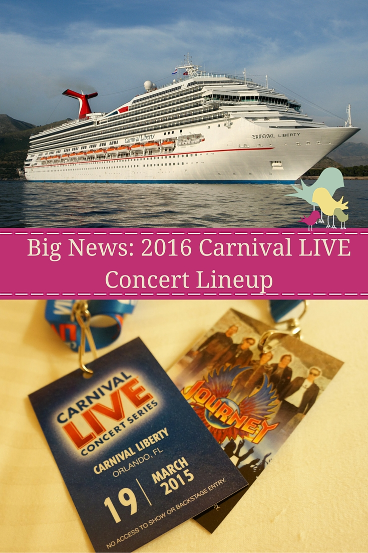 Check out the initial lineup for the 2016 Carnival LIVE concert series with Carnival Cruise Lines.