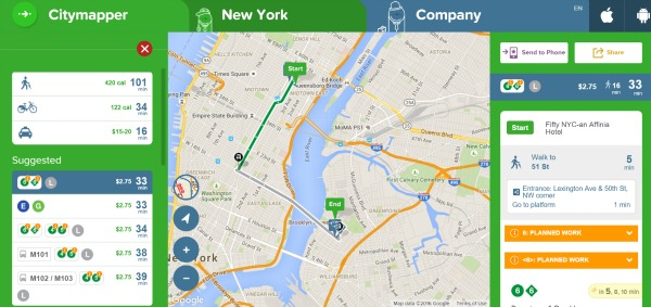 CityMapper NYC - Mobile Apps for Visiting New York City