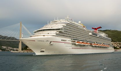 The new Carnival Vista, sailing on its maiden voyage, departs Dubrovnik, Croatia, Tuesday, May 3, 2016, on a 13-day Mediterranean cruise. The largest ship in Miami-based Carnival's fleet, Carnival Vista measures 133,500 tons, 1,055 feet long and has a guest capacity of almost 4,000 passengers. Following a summer and fall schedule of Med cruises, the ship is slated to arrive in New York City Nov. 3, 2016, to begin a series of cruises there. FOR EDITORIAL USE ONLY (Andy Newman/Carnival Cruise Line/HO)
