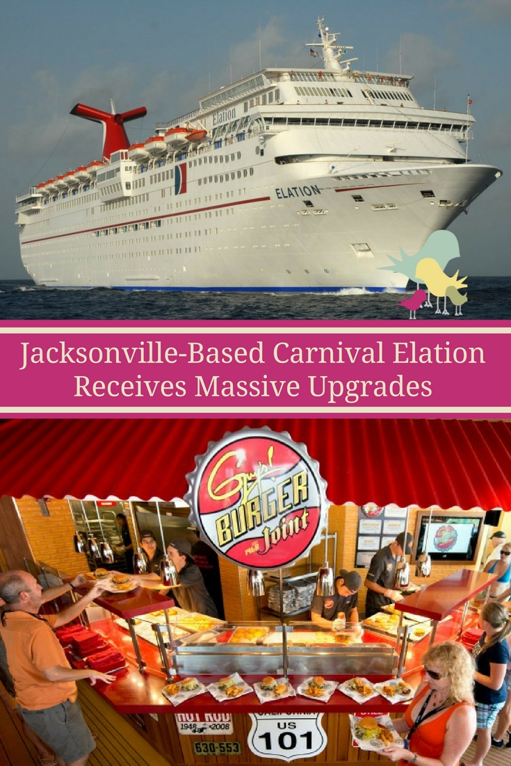 The Carnival Elation, based in Jacksonville, Florida upgraded to include expansive new WaterWorks park, new staterooms and a variety of food and beverage concepts.