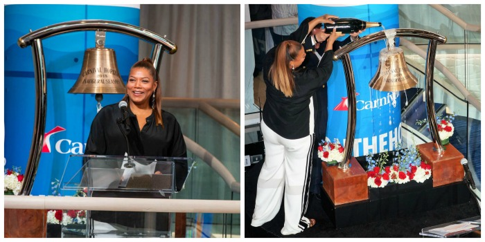 Queen Latifah Carnival Horizon Naming Ceremony Collage