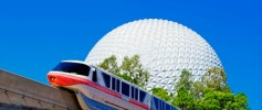 Epcot Spaceship Earth with Monorail - credit WDW Gene Duncan