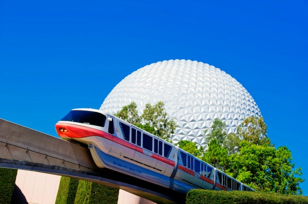 Epcot Spaceship Earth with Monorail credit WDW Gene Duncan