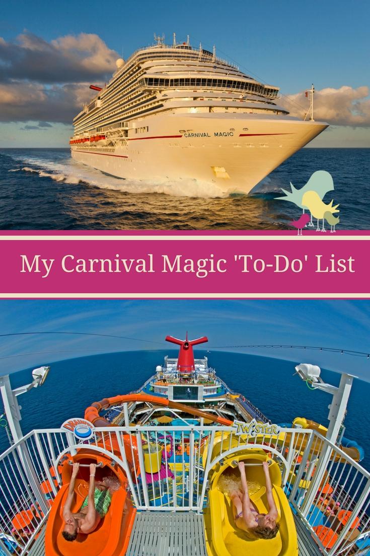 My Carnival Magic 'To-Do' List  #cruisingcarnival