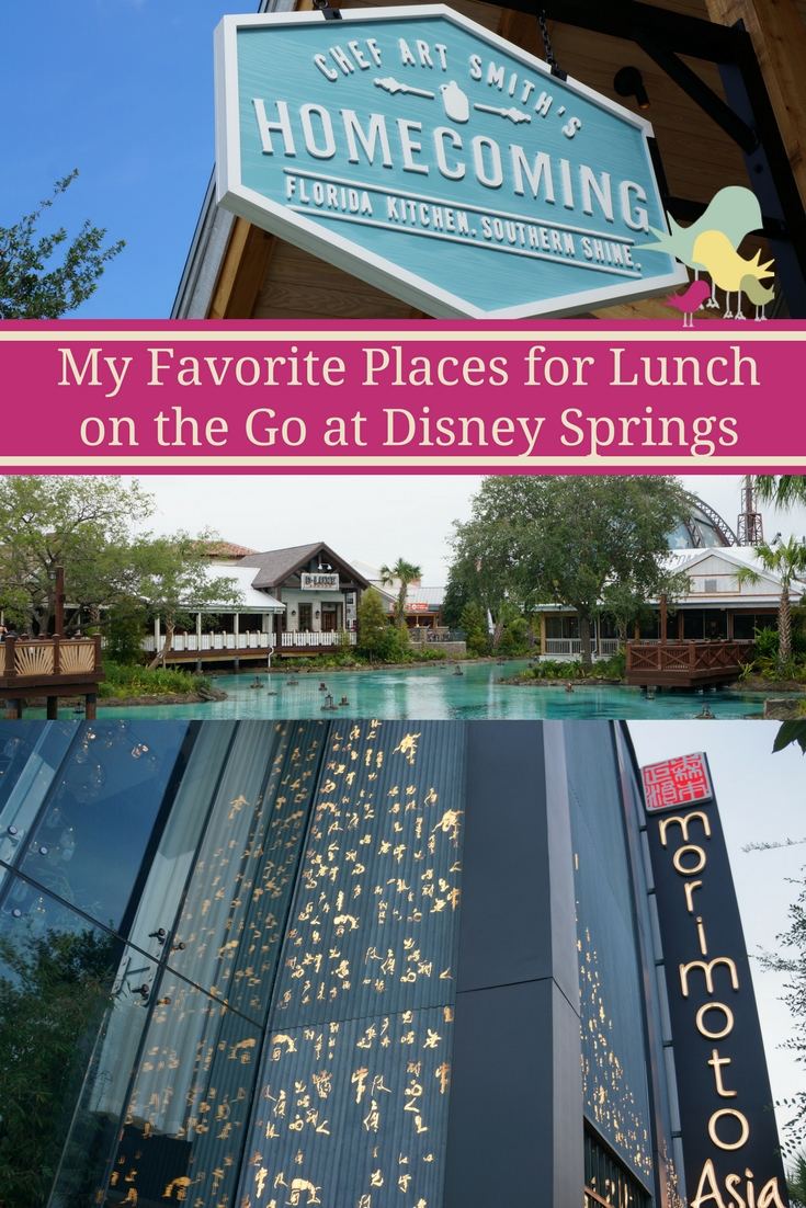 My top picks of restaurants to eat on the go at Disney Springs. Check out my thoughts on Morimoto Asia, Blaze Pizza and Chef Art Smith's Homecomin' Kitchen.