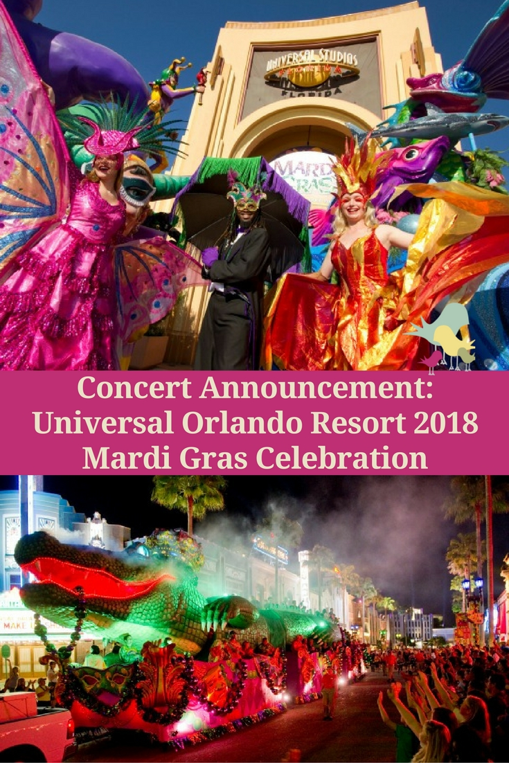 Here's the concert lineup for the 2018 Universal Orlando Resort Mardi Gras Celebration 2018 taking place Feb. 3 through April 7, 2018.