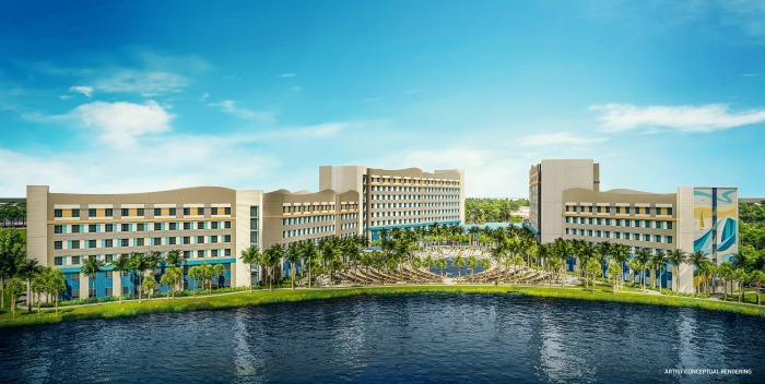 Artist rendering of Surfside Inn & Suites exterior at Universal Orlando Resort